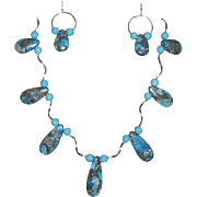 Various Blues Teardrops With Twisted Tubes Necklace Set