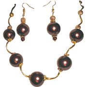 Large Chocolate Brown Beads And Wavy Tubes Necklace Earrings Set