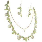 Colors Of Peridot Green Yellow Necklace And Earrings Set