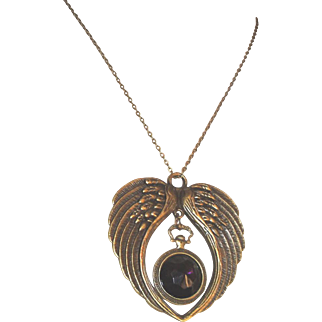 Unique Wings With A Pendant Watch And Purple Cabochon