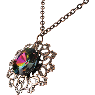 Unique Copper Floral Pendant With Swarovski Vitrail Center