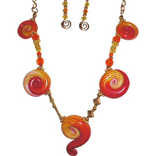 Very Unique Red Orange and Yellow Summer Swirls Necklace Set.