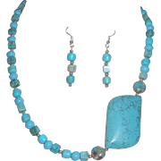 Simulated Turquoise Stone Beads With Large Focal