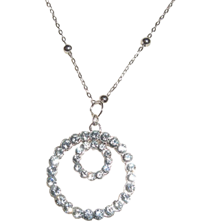 Sparkly Swarovski Crystals In Double Circles Pendant With Chain
