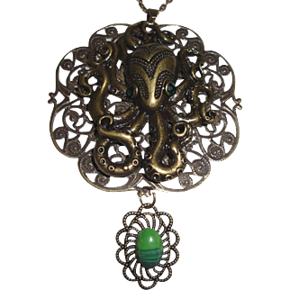Unusual Antiqued Bronze Octopus Necklace