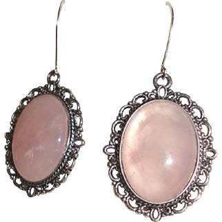 Pink Cabochons Earrings In An Antiqued Silver Plate Oval