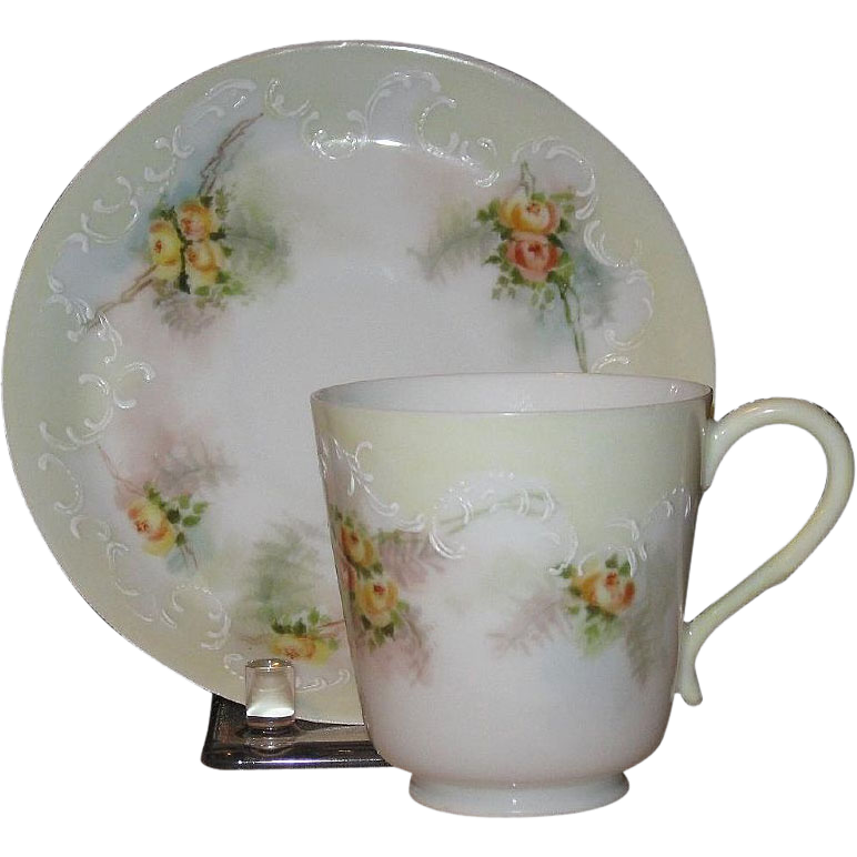 1897 Pouyet, Limoges Eggshell Porcelain Demitasse Set, HP, Signed by Artist
