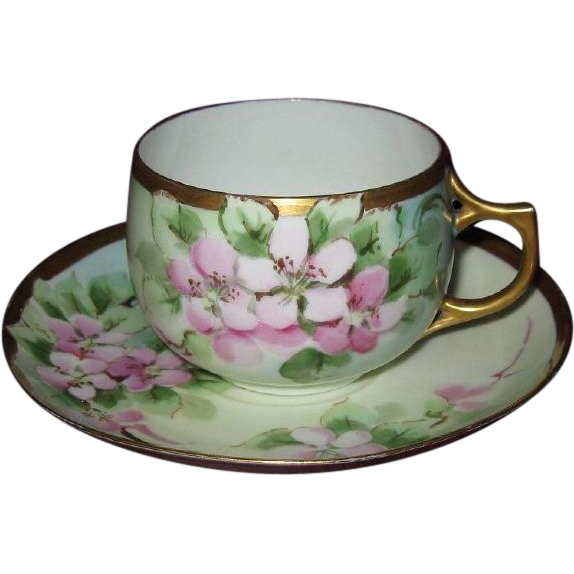 Hand Painted Apple Blossoms, Artist Signed Antique Cup & Saucer Set, Eggshell Porcelain