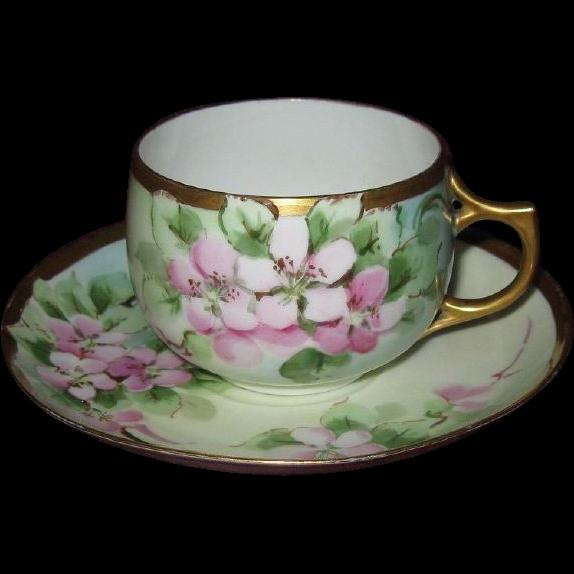 Hand Painted Apple Blossoms, Artist Signed Antique Cup & Saucer Set, Eggshell Porcelain
