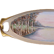 Beautiful Fall Landscape, Birch Trees, German Celery Tray, Artist Signed, 1925
