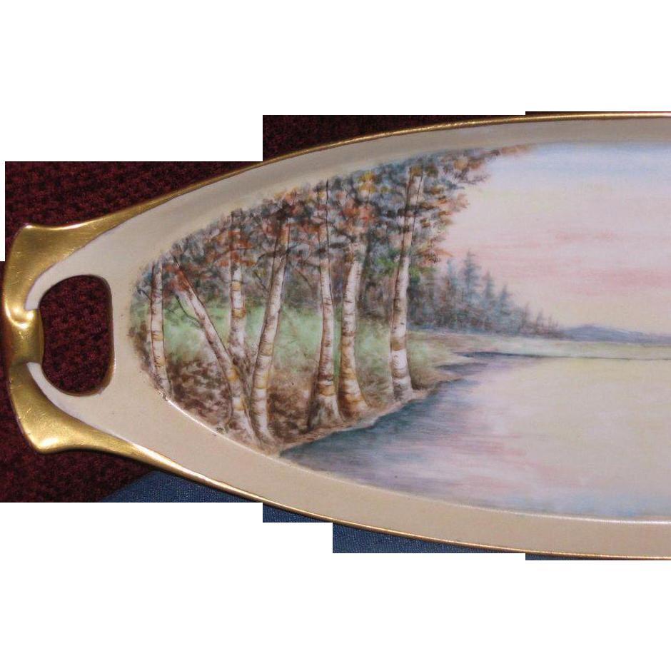 Beautiful Fall Landscape, Birch Trees, German Celery Tray, Artist Signed, 1925