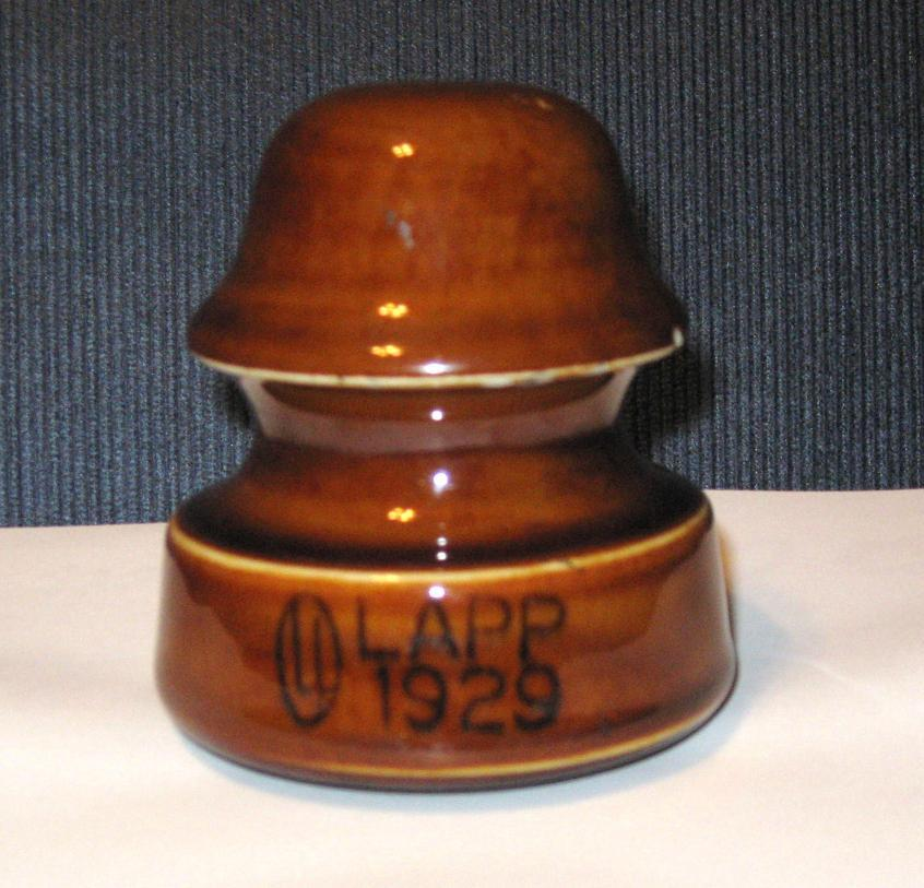 Porcelain Telephone Wire Insulator Lapp 1929 Cocoa Brown