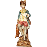 Young Nobleman Hunter with Game, 19th C. Majolica Figurine