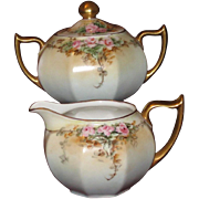 Very Old Octoganal Creamer/Sugar Set, Roses, Zeh, Scherzer & Co., HP, Artist Signed