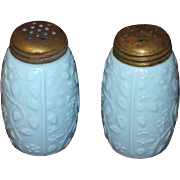 Victorian Opaque Glass Salt & Pepper Set, Robin's Egg Blue Floral Motif, 1890s
