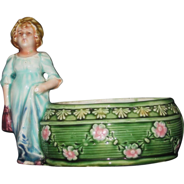 European Country Girl Colorful Figural Majolica Planter