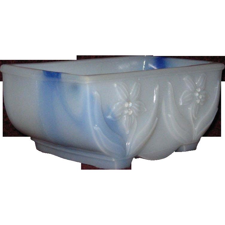 Akro Agate Blue Swirl Milk Glass Bulb Planter, Jonquil Pattern