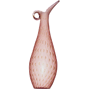 "10"" Tall Pink Bullicante, Aventurine Art Glass Ewer"
