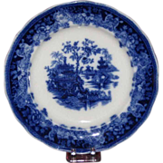 Gorgeous Flow Blue Plate, Shanghai Pattern, Late 19th-Early 20th Century English