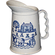 Metlox Poppytrail Pitcher, Blue Homestead Provincial Pattern