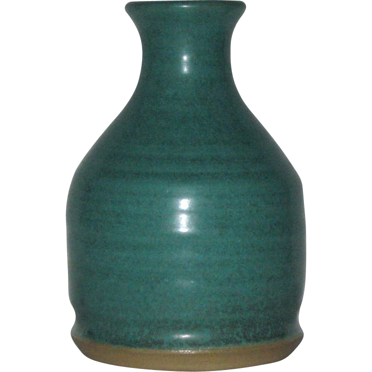 Mid-Century, Artist Signed Matte Green Art Pottery Vase,