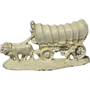 Cast Iron Bookend Ox-Drawn Covered Wagon White Enamel Paint, Circa 1931