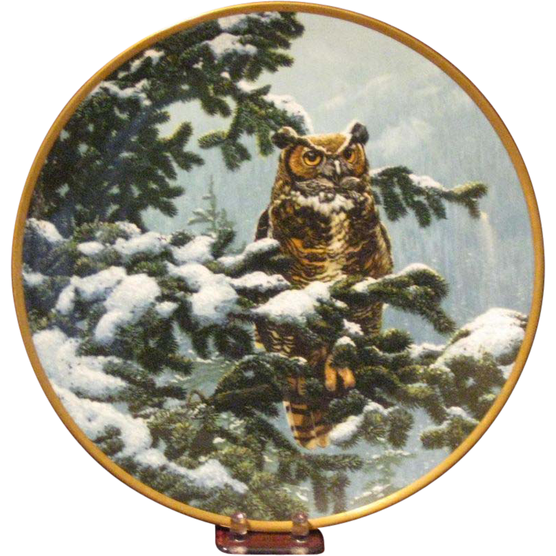 Spode Bone China Great Horned Owl Collector's Plate by John Seerey-Lester, Limited Edition Certificate Signed by the Artist