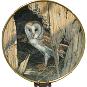 Spode Bone China Collector's Plate, Barn Owl by Seerey-Lester, Limited Certificate Signed by the Artist