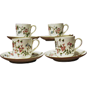 Set of 4 Antique Limoges Hand Painted Demitasse Cups and Saucers