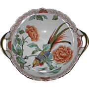 Hand Painted Exotic Bird Bowl, Floral & Foliage Motifs, Kammer Porcelain