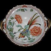 Hand Painted Exotic Bird Bowl, Floral & Foliage Motifs, Kammer Porcelain