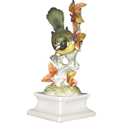 Bisque Warbler, Green and Yellow on Flowering Branch, Pedestal Mounted, Unsigned