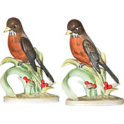 Pair of Red Robins Bisque Lefton MIJ Hand Painted