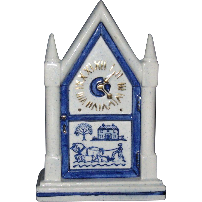 Metlox Blue Provincial Wall Pocket, Steeple Mantel Clock