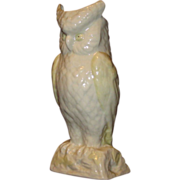 Cream White Irish Belleek Owl Vase, Gold Mark