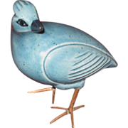 Small Turquoise Porcelain Partridge with Copper Feet, Vintage Stylized