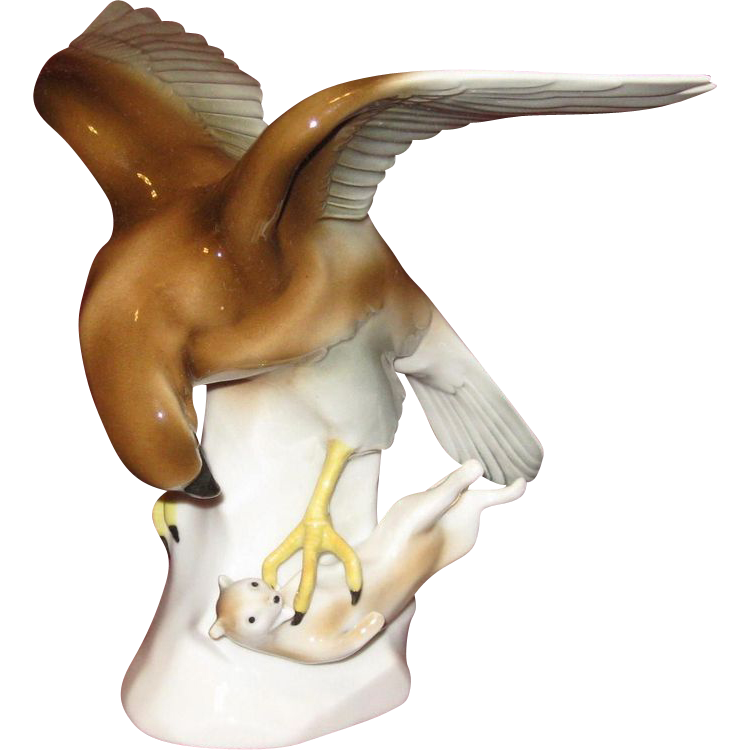 Porcelain Eagle with Prey Figurine, Carl Scheidig, Graeffenthal, Thuringer VEB
