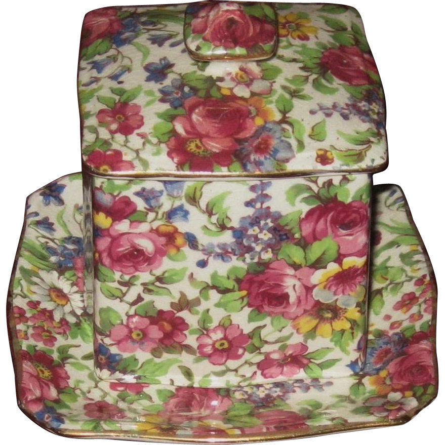 Royal Winton Square Chintz Jam Pot 3 Piece Set, Summertime