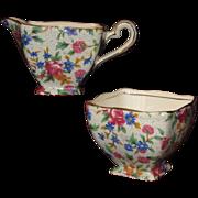 'Old Cottage' Pattern Chintz Cream & Sugar Set, Royal Winton Grimwades, Early Mark