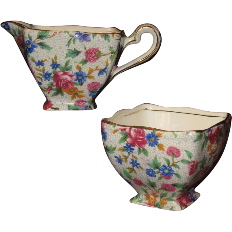 'Old Cottage' Pattern Chintz Cream & Sugar Set, Royal Winton Grimwades, Early Mark