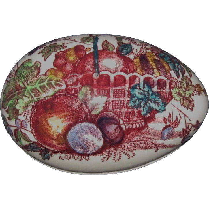 Mason's Porcelain Egg Trinket Box, Red Multicolor Fruit Basket Pattern