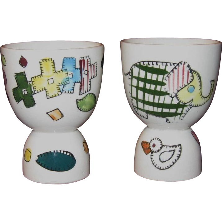 Pair of Ceramic Egg Cups in Bright Hand Painted Colors