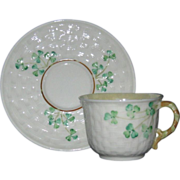 Irish Belleek Demi Tasse Cup and Saucer