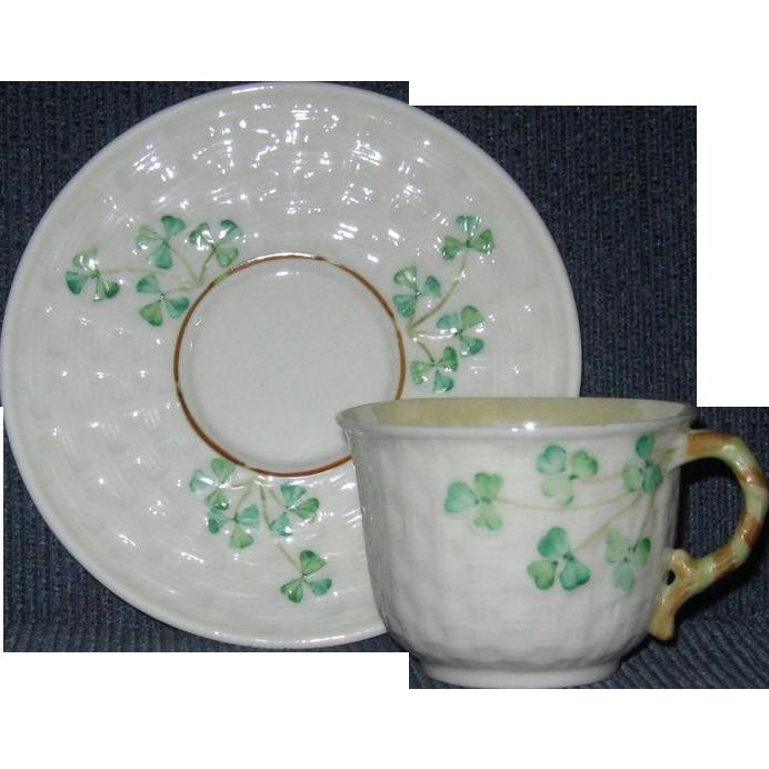 Irish Belleek Demi Tasse Cup and Saucer