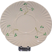 Irish Belleek Cabinet Plate with Shamrocks