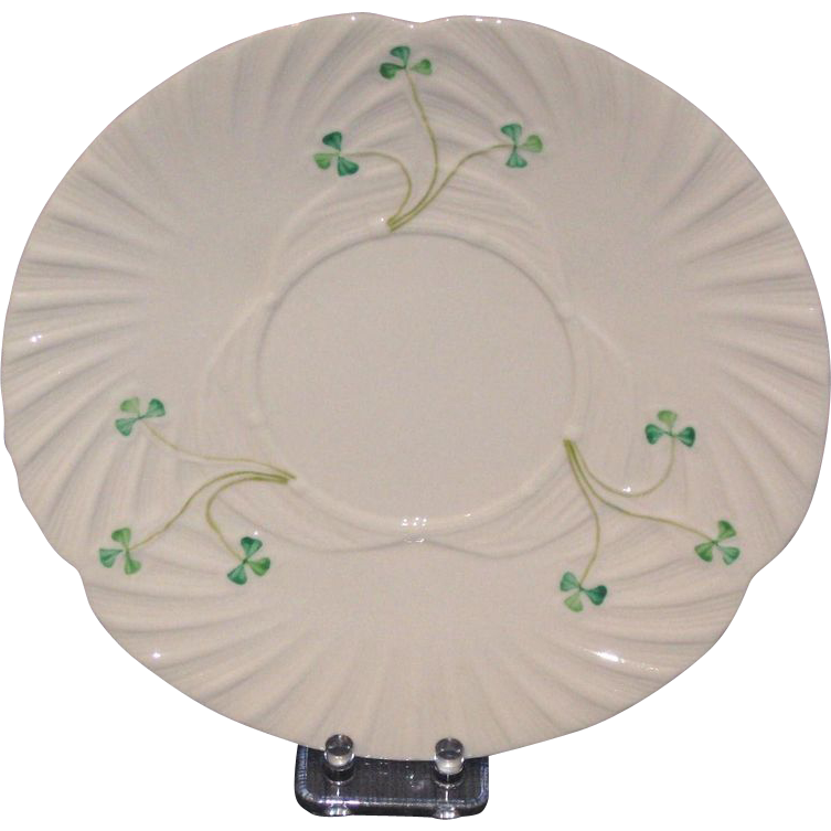 Irish Belleek Cabinet Plate with Shamrocks