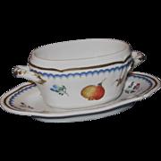 Richard Ginori Oval Mustard Pot, Italian Fruit (Antico Doccia) Pattern