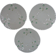 Three Irish Belleek Scalloped Luncheon Plates