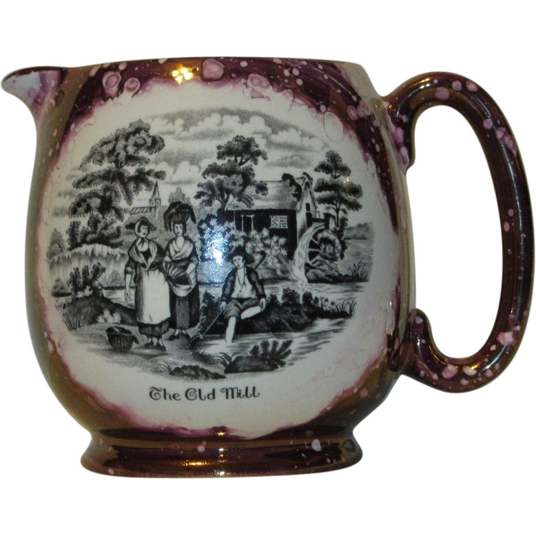 Lancaster & Sandland Large Pictorial English Lusterware Creamer