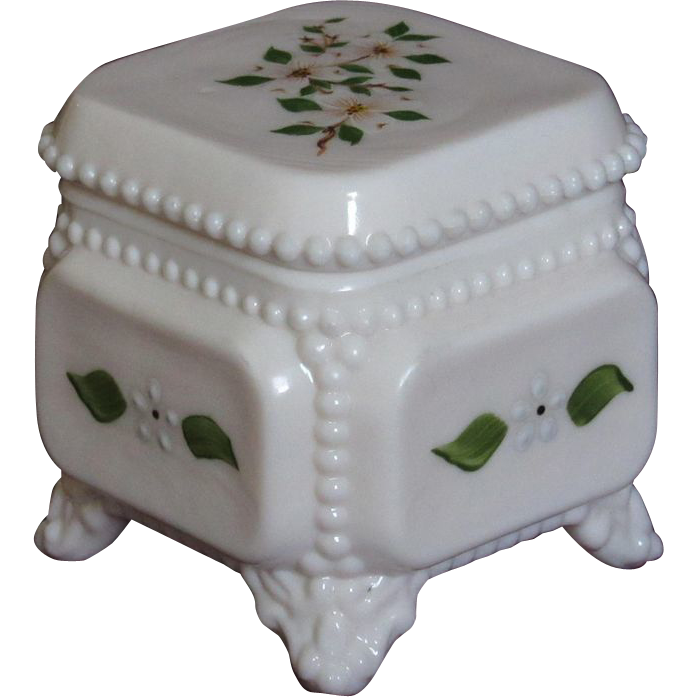 Westmoreland Milk Glass Footed Trinket Box, HP Dogwood Blossoms